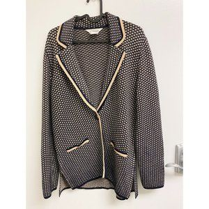 Exclusively Misook Knit Blazer Navy and Cream Med